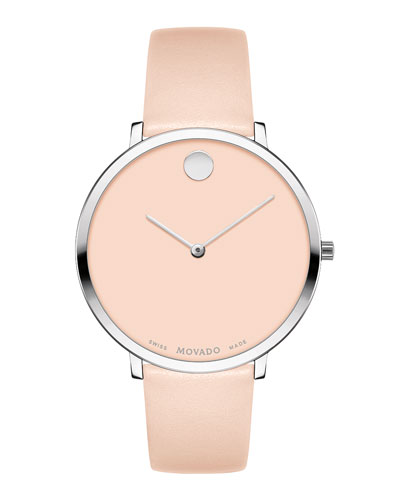 Ultra Slim Leather Watch, Light Pink
