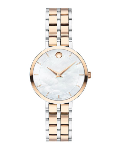 Kora Mother-of-Pearl Bracelet Watch, Carnation/Steel