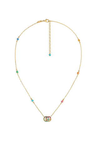 Gucci Running G Station Necklace with Topaz, Citrine & Sapphire