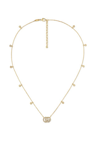Gucci GG Running 18k Gold Diamond Necklace