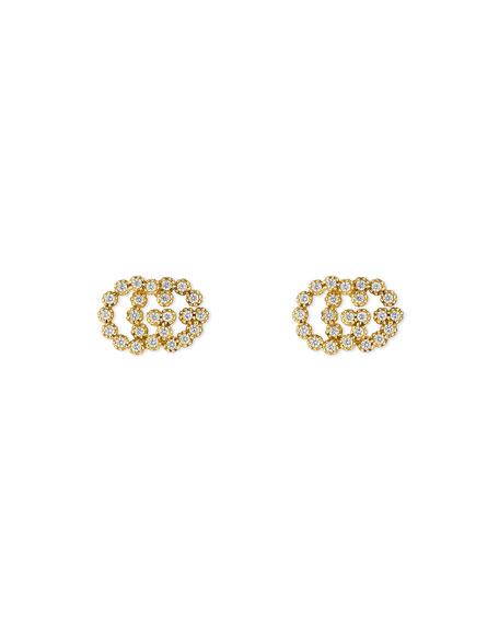 Gucci Runnings GG Running 18k Stud Earrings w/ Diamonds