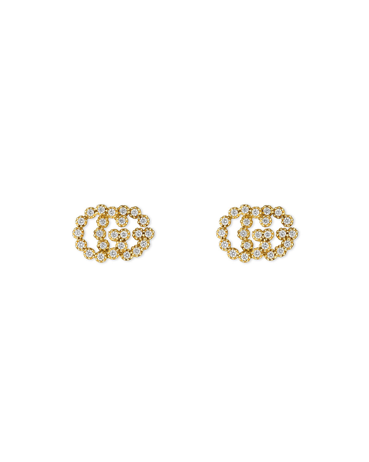 c4474c0173b Gucci GG Running 18k Stud Earrings w  Diamonds