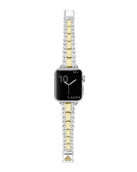 Lagos Watches Smart Caviar Bracelet Watch Strap w/ 18k Gold, Medium