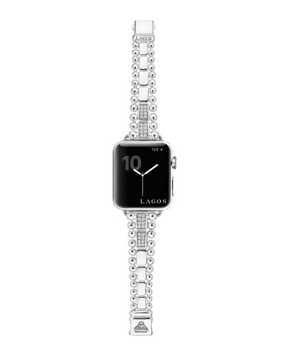 Smart Caviar Bracelet Watch Strap w/ Diamonds, Medium