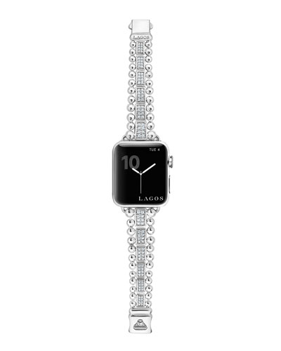 Smart Caviar Bracelet Watch Strap w/ Diamond Pave  Medium