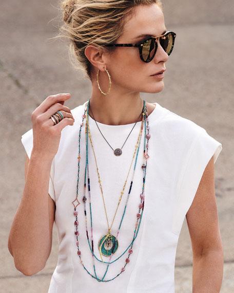 Armenta New World 14k Rose Gold Enamel Ring w/ Diamonds & Turquoise, Size 6.5