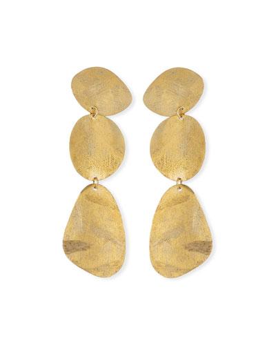 Textured 3-Drop Earrings  Gold