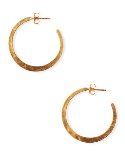 Hammered Hoop Earrings  Gold