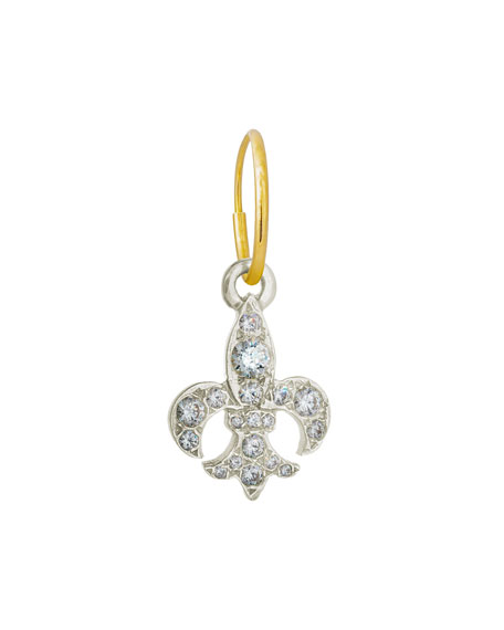 Lee Brevard Fleur de Lis Single Earring with Crystals