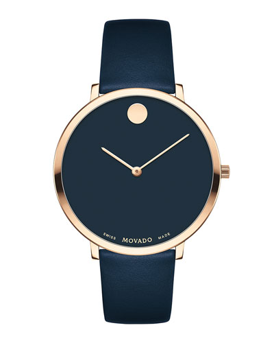 Ultra Slim Leather Watch, Navy/Carnation
