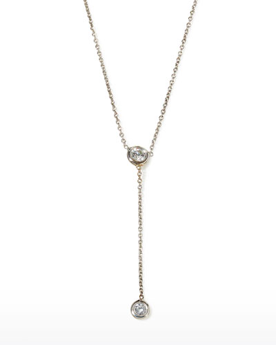 18k White Gold Diamond-Bezel Y-Drop Necklace