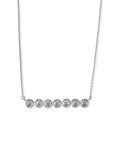 18k White Gold Diamond-Bezel Bar Necklace