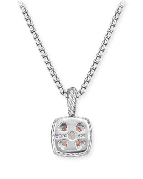 David Yurman Petite Albion Pendant Necklace with Pink Morganite and Diamonds on Chain