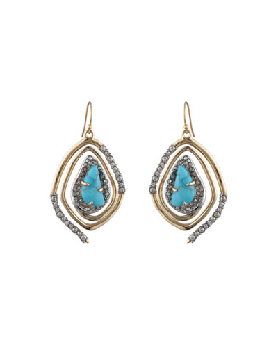 Spiral Drop Earrings  Turquoise
