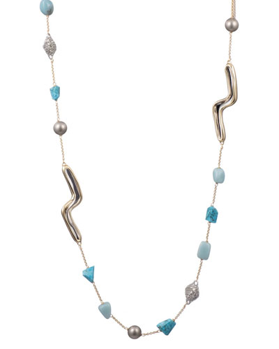 Two-Tone Sculptural Station Necklace