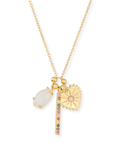 Crystal Stick, Heart & Opal Charm Necklace