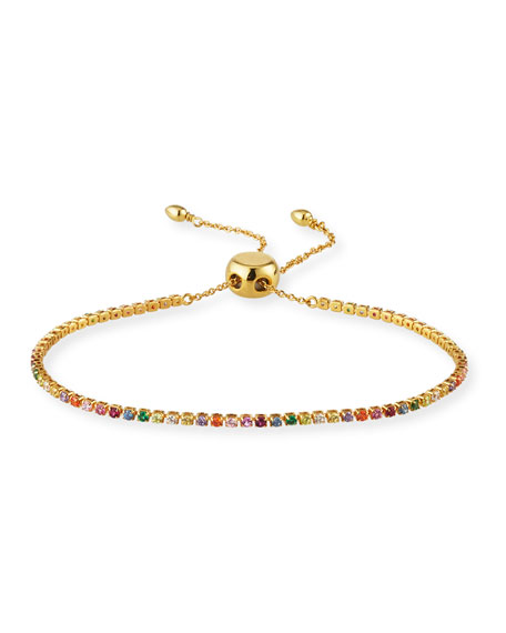 Image 1 of 2: Crystal Bolo Tennis Bracelet, Rainbow