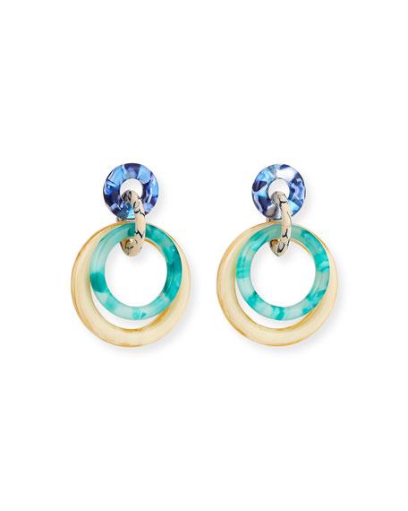 Lele Sadoughi Accessories INTERLOCKING DOUBLE-RING DROP EARRINGS