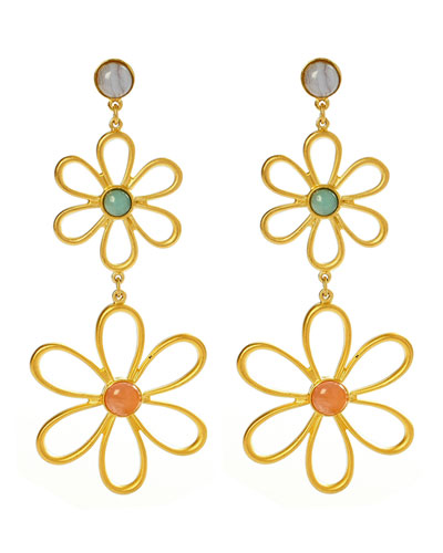 Hippie Flower & Bead Drop Earrings