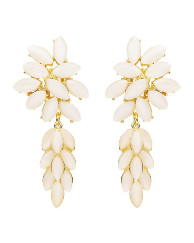 Floral Stone Drop Clip-On Earrings