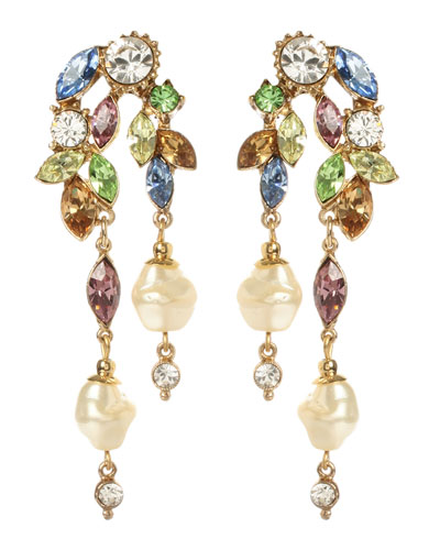 Crystal Garden Linear 2-Drop Pearly Earrings