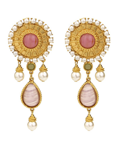 Romaness Statement Stone & Pearly Clip-On Earrings