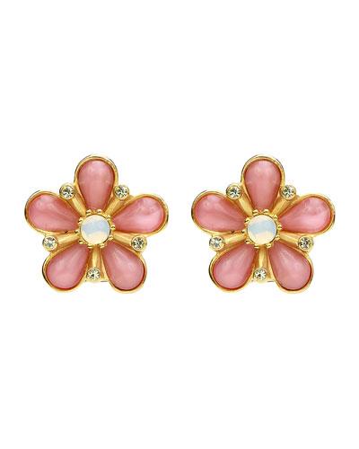 Flower Opal Crystal Clip-On Earrings