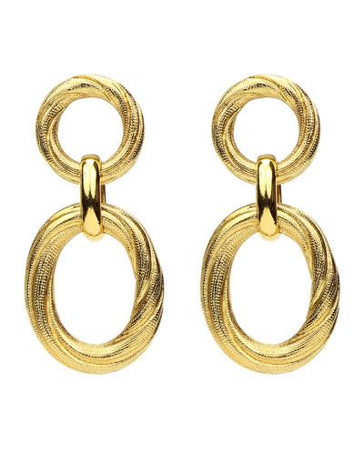 Textured Hoop Post & Oval Drop Earrings