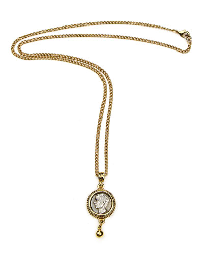 Two-Tone Coin Pendant Necklace