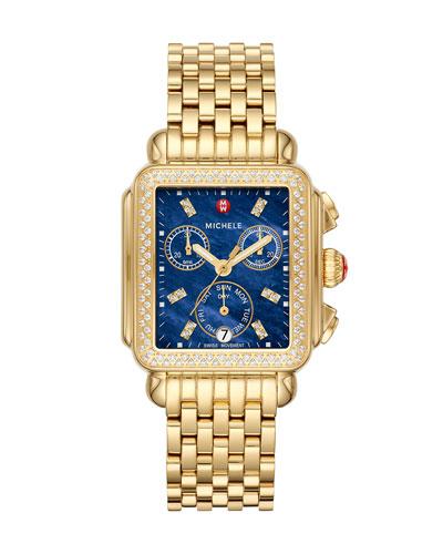Deco Diamond Blue-Dial Watch  Gold