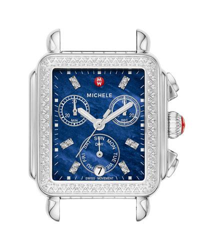 Deco Diamond Blue-Dial Watch Head, 18mm