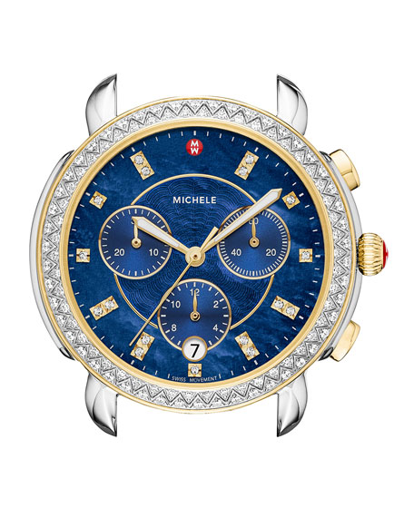 Michele Watches 38MM SIDNEY DIAMOND CHRONOGRAPH WATCH HEAD, BLUE/TWO-TONE