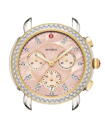 38mm Sidney Diamond Chronograph Watch Head, Pink/Two-Tone
