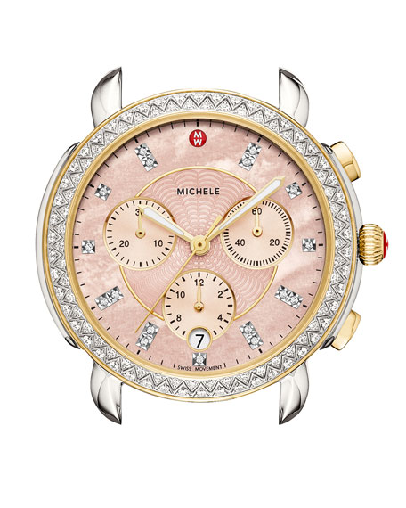 Michele Watches 38MM SIDNEY DIAMOND CHRONOGRAPH WATCH HEAD, PINK/TWO-TONE