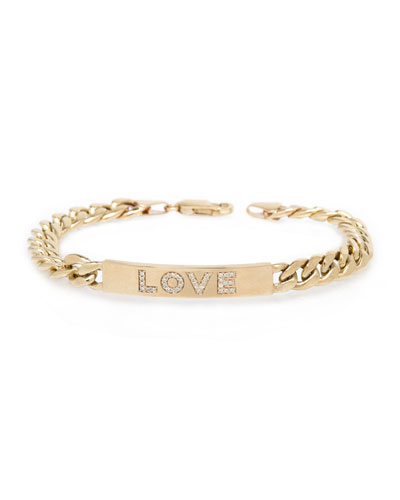 14k Large Curb-Chain Diamond LOVE Bracelet