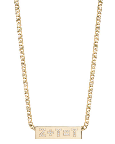 Custom Initial Equation 14k Diamond Engraved ID Necklace