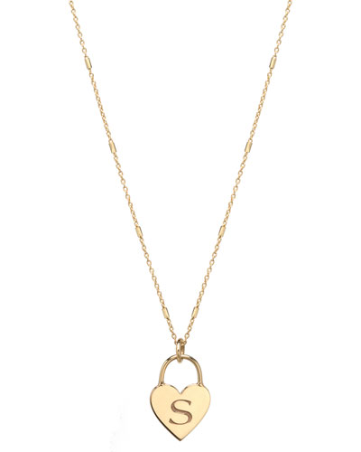 14k Small Engraved Initial Heart Padlock Necklace