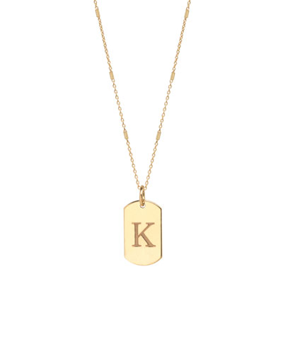 14k Extra-Small Engraved Initial Dog Tag Necklace