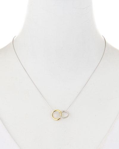 18k Two-Tone Diamond Double-Circle Pendant Necklace