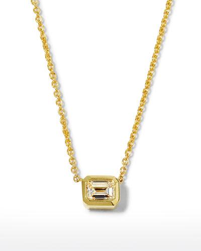 18k Emerald-Cut Diamond Pendant Necklace