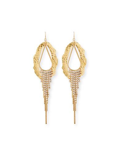 Irregular Hoop-Drop Earrings w/ Crystals