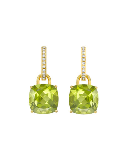 Kiki Classics 18k Gold Peridot Drop & Diamond Hoop Earrings