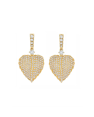 Lauren 18K Gold Full Diamond Leaf Drop Earrings