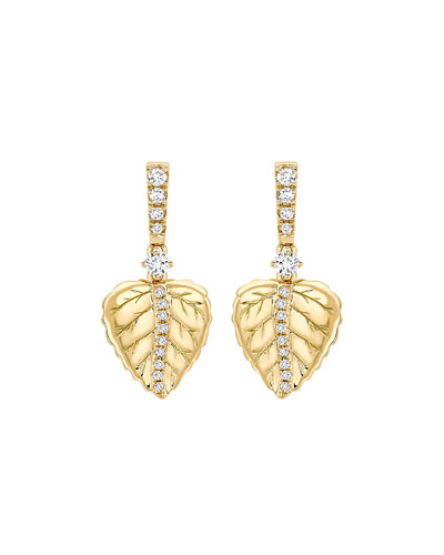 Lauren 18K Gold Leaf Drop & Diamond Earrings