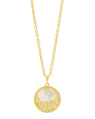 Fleur Bloom Mother-of-Pearl Long Round Pendant Necklace