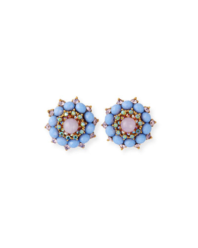 Crystal & Glass Clip-On Button Earrings