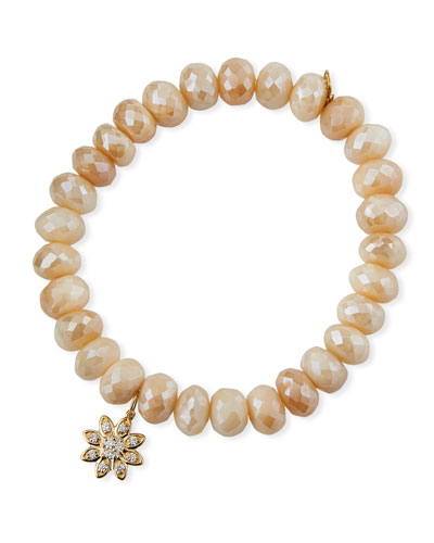 14k Diamond Flower & Cream Moonstone Bracelet