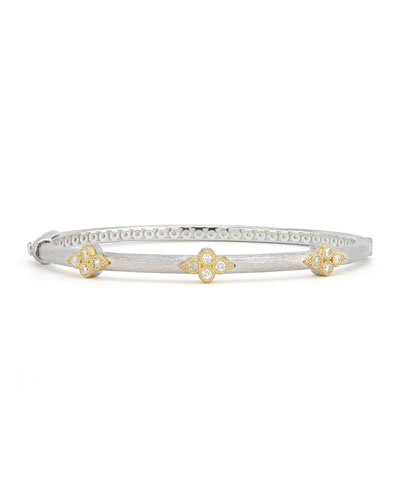 Mixed Metal Triple Moroccan Trio Bangle w/ Diamonds