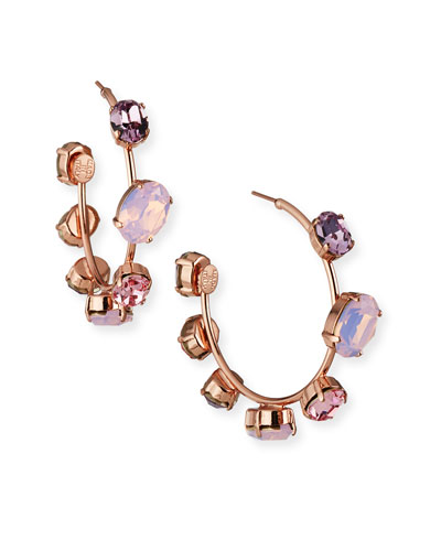 Jenny Crystal Hoop Earrings, Rose
