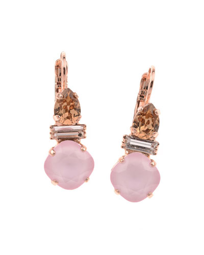 Lucia Crystal Drop Earrings, Rose